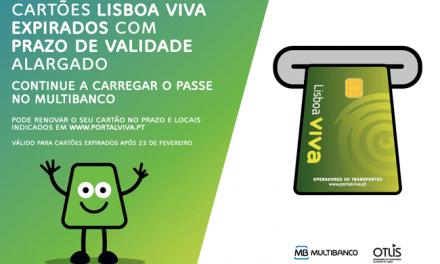 OTLIS estende prazo de validade dos cartões Lisboa VIVA, possibilitando o seu carregamento no MULTIBANCO