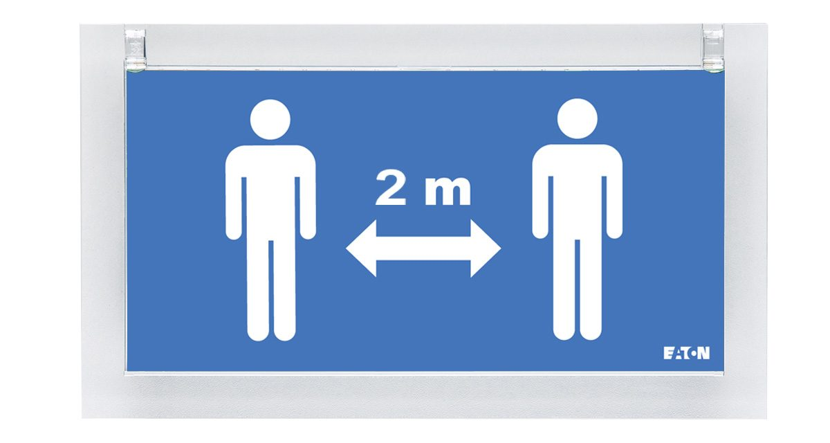 Sinalética Eaton indica distância social em edifícios públicos